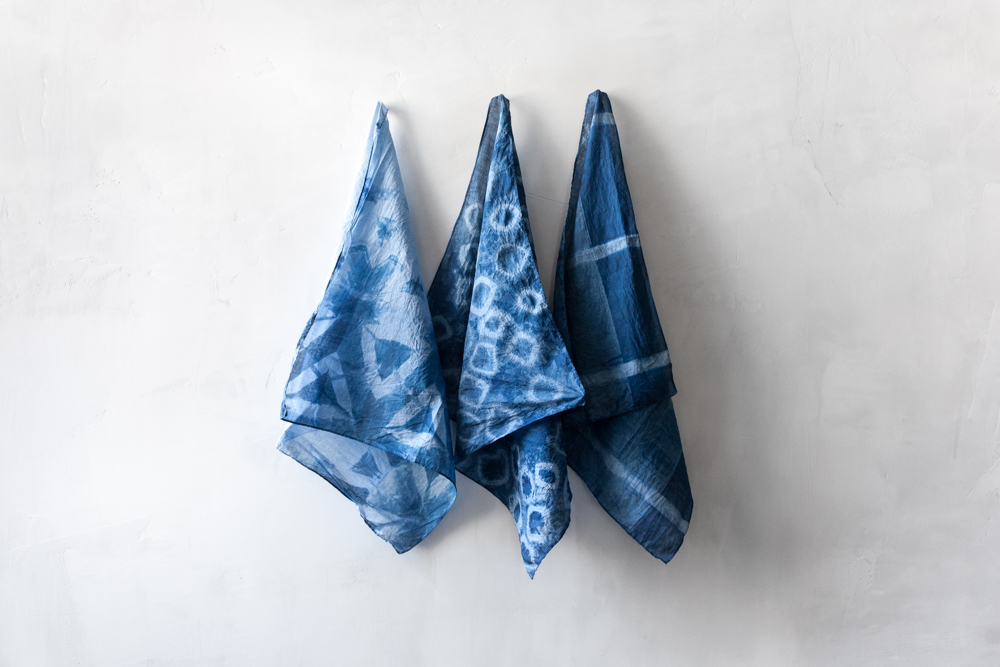 From left: Honeycomb Shibori, Ringed Shibori, Striped Shibori