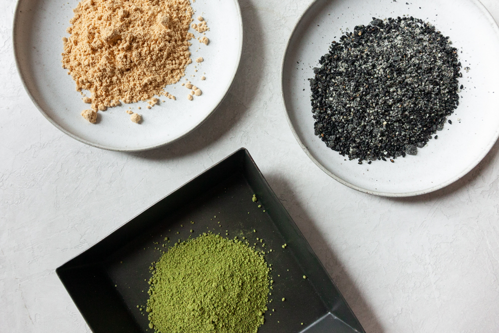 Traditional toppings: Top left -  Kinako ( soybean flour), Top right - Black sesame, Bottom - Cooking matcha.