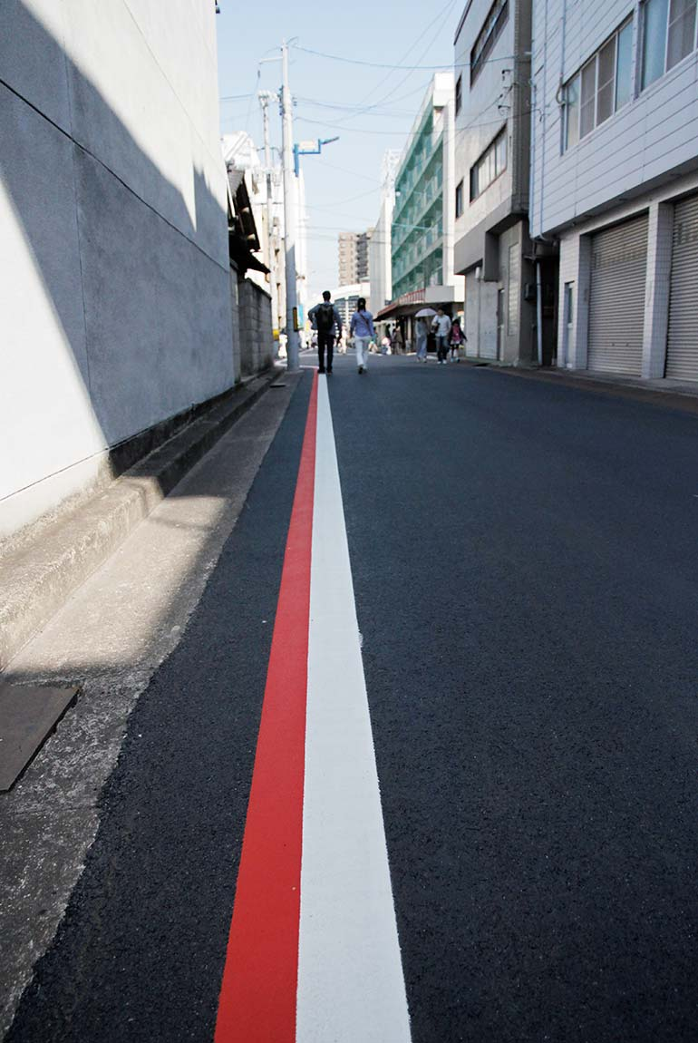 The selvedge street detail in Kojima, Japan.