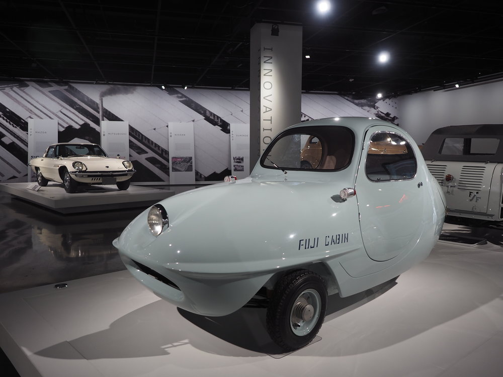 1955 Fuji Cabin Model 5A - A jelly bean-shaped three-wheeler with a scooter motor that was designed by Ryuichi Tomiya.