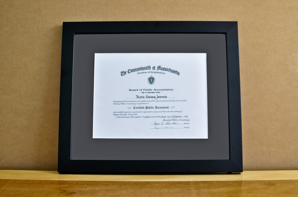 "Style: Medium Frame Color: Black Mat: 2"" Gray Diploma: 11"" W x 8 1/2"" H"