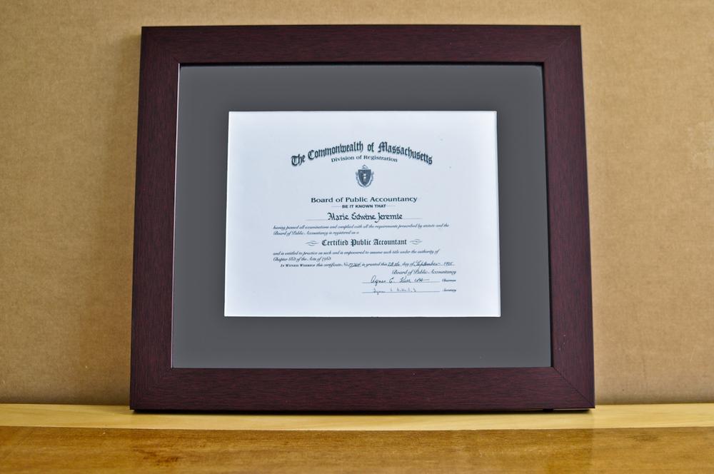 """Style: Medium Frame Color: Mahogany Mat: 2"""" Gray Diploma: 11"""" W x 8 1/2"""" H"""