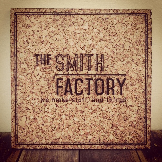 just finished up a large order of #laserEngraved #cork for a client (photos of that later) and thought we'd run the #SmithFactory logo on some leftover material. very pleased with the outcome! Any ideas for other #lasercut cork projects?