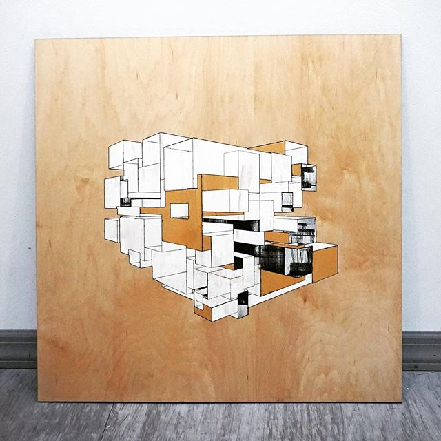 """cubes"" 3 of 3 from a new series of #lasercut tryptics by @callibeck"