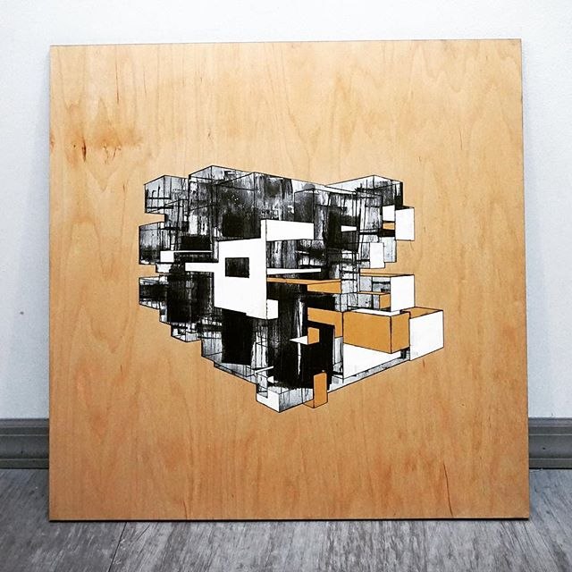 """cubes"" 2 of 3 from a new series of #lasercut tryptics by @callibeck"