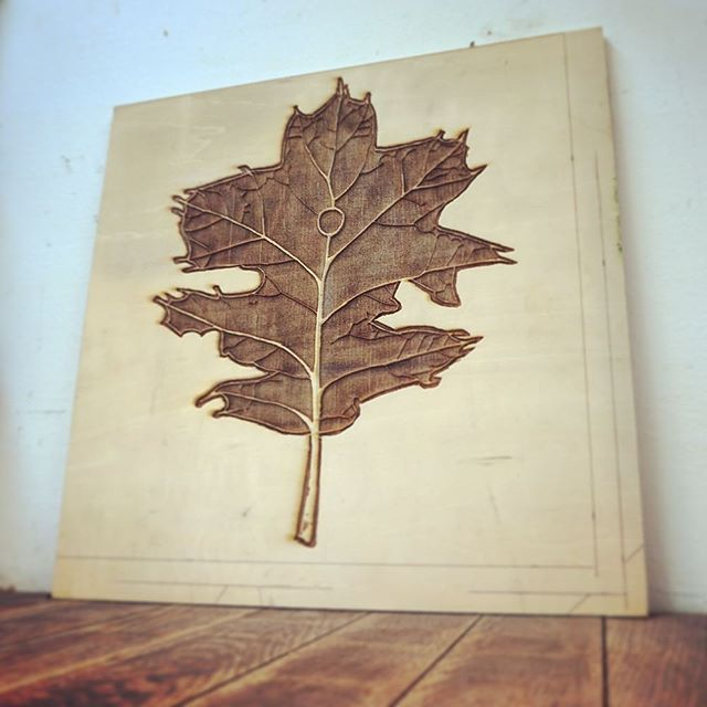#onTheBenchToday is a sweet laser engraved wood printing plate for a client. Can't wait to see the finished prints!  #lasercut #laserEngraved #printing #art