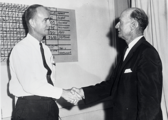 John Spottswood and Bernie Papy, both legendary political figures from the Keys back in the days when everyone was a Democrat, shake hands. Photo from the Monroe County Public Library's Wright Langley Collection. No year specified -- I'm guessing early '60s.