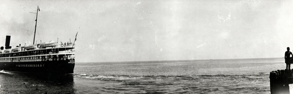 The S.S. Cuba departs from Trumbo Point. Photo from the Monroe County Public Library collection.