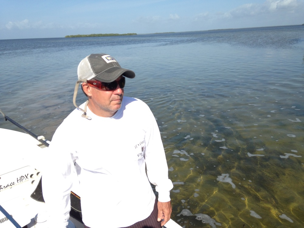 Fishing guide Tad Burke has been working on Florida Bay for more than 30 years. He says this area near Rankin Key used to be a favorite fishing grounds. Now it's devoid of life. Photo by Nancy Klingener.