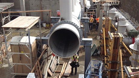 Installation of fabricated stainless steel pipe spools