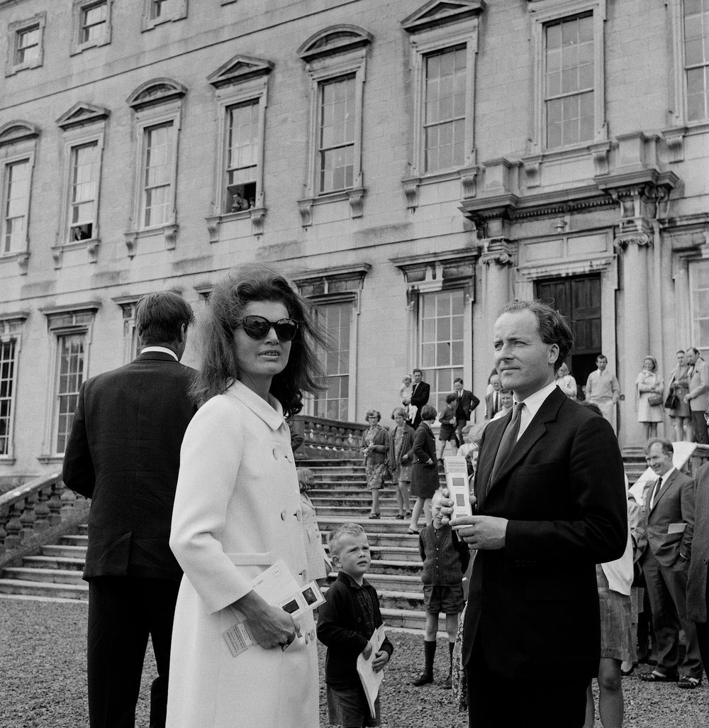 Jackie Kennedy on a visit to Castletown House in Cellbridge, Co. Kildare in 1967 with Desmond Guinness, the founder of the Society.