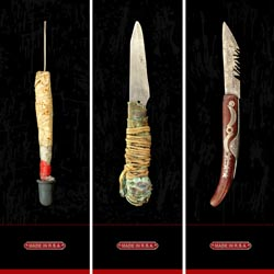 MADE IN RSA   This work documents a sinister cache of hand-made weapons recovered at crime scenes or confiscated during police raids and represents a small fraction of knives appropriated in our recent history.  [ view ]