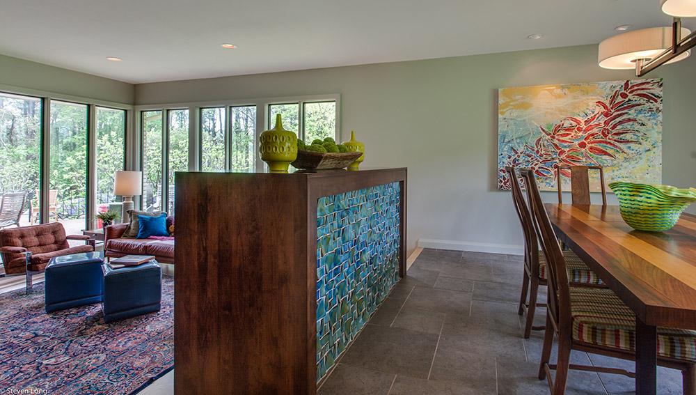 New Pella windows/Alderwood framed and tile framed fireplace