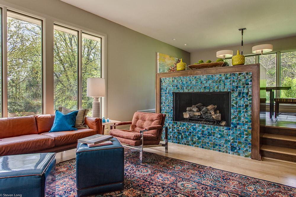 Maple flooring/Tile and alderwood framed fireplace