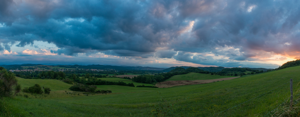 Panorama of the sunset. Mirepoix is on the far left.