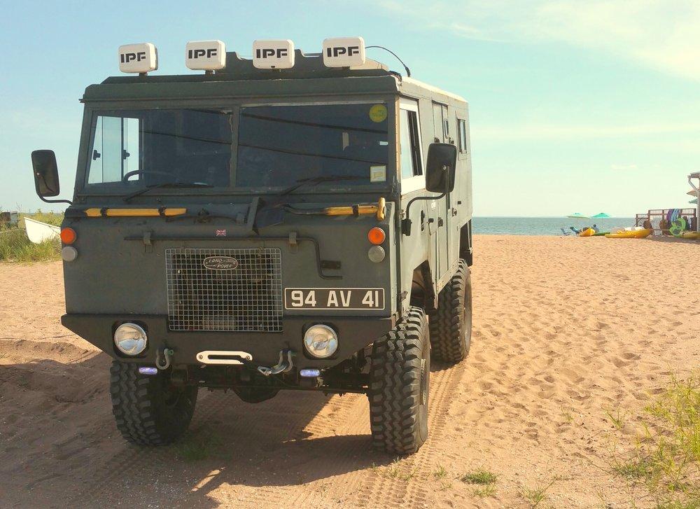 The Kraken at the beach. Chris Velardi • 1975 Land Rover 101 Forward Control