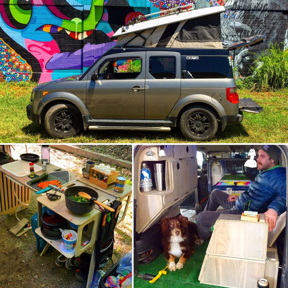 """My 'Cool Ride' is a 2008 Honda Element. After having the Ecamper pop top installed by Ursa Minor Vehicles in San Diego, I set out to design the perfect interior based on the beloved, classic VW camper bus. The result is the Fifth Element Ultimate Micro Camper System. This mini champ of a camper features seating for two on the lower level with fold down tables for working, eating, etc. When dinner is over the 'downstairs' transforms into two person bed, perfect for stealth 'urban camping'. However, when out in the wild I tend to pop the top and sleep upstairs where I can take in the view and the breeze. Also included in the Micro Camper interior is a large storage cabinet and removable camp kitchen complete with dual burners and a hands free sink for the outdoor gourmet. The wooden camper system is completely removable with no modifications to the car. Pop those rear seats in place and your camper transforms back into a daily driver that seats four. On top of all this, the Element is all an all-wheel drive vehicle only 13"""" longer than the pint sized Mazda Miata making it perfect for navigating off road or parallel parking in the city. It is this simplicity and versatility that make my Honda Element Micro Camper, hands down, the 'Coolest Ride'. Nick Spero • 2008 Honda Element"""