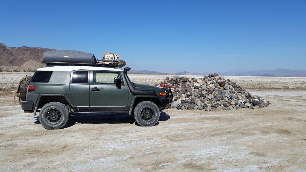 Traveling the Mojave Trail getting ready to cross Soda Lake. Gary Eidsmoe • 2012 Toyota FJ Cruiser