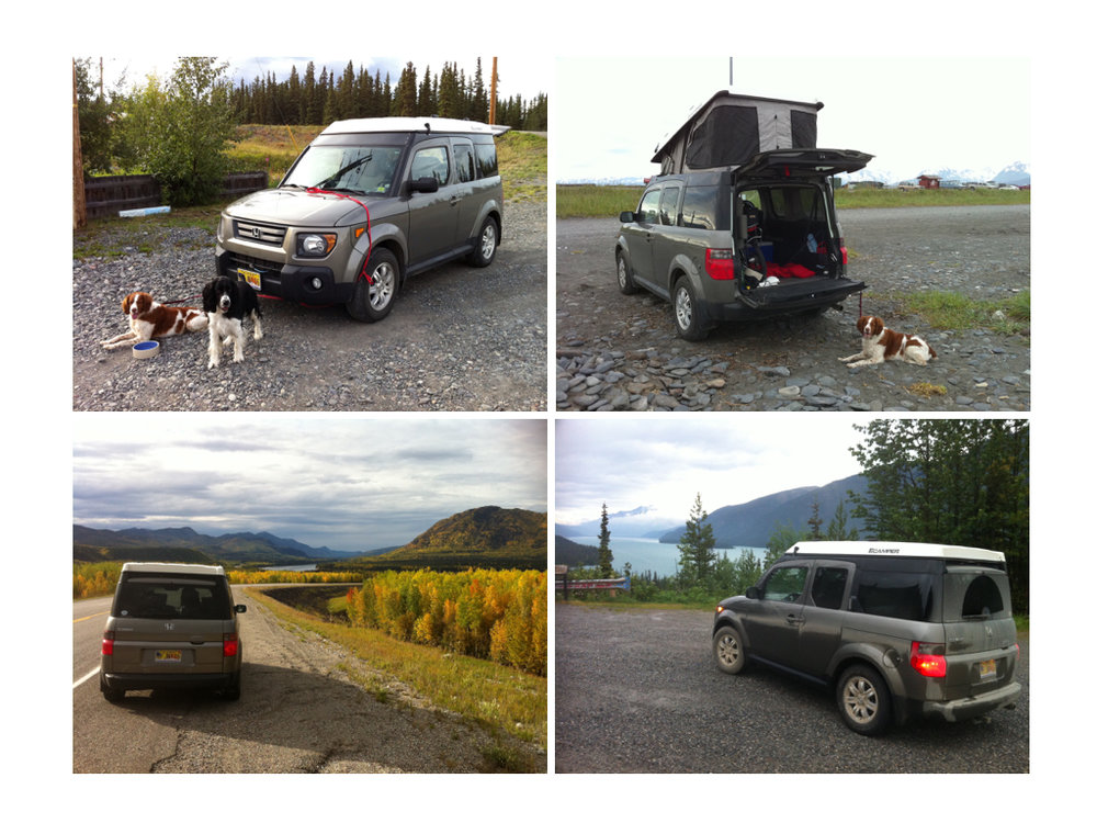 2008 Honda Element 4WD has taken me comfortably all over the U.S (especially Alaska) and Canada. Load and go in a few minutes with all season capabilities. This is both my every day vehicle and cross country adventure conveyance. Can affordably handle long haul days on an interstate and short grinds in snow, sand and mud. This configuration means I can stay inside and the mosquitos stay out.  The engine warms/cools my sitting and sleeping space when needed and charges my electronics along the way. The secret is adding the Ecamper (which includes a back door lock/unlockable latch inside); jump start 12v battery; 12v/120v air compressor and Pewag Brenta-C 4x4 XMR 77V tire chains which can be installed without driving over them.  Several times I've had to turn around on a single lane trails so the short wheelbase becomes a real advantage. David Hoffman • 2008 Honda Element