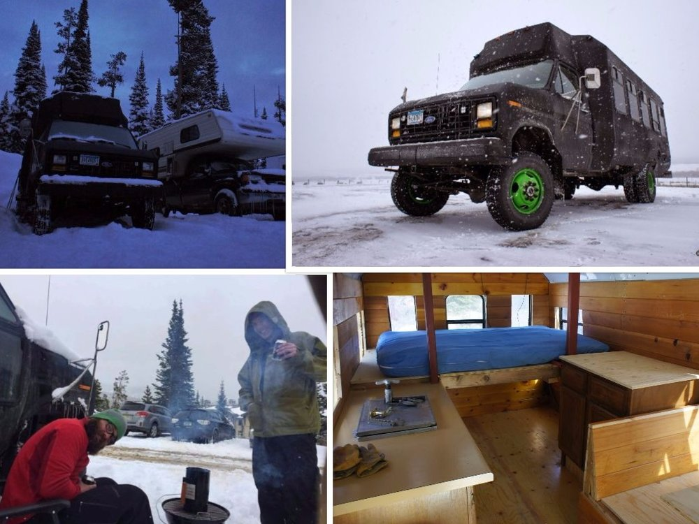 "The cuddle shuttle is 88 Ford E350 with a Dana 60 front/ Dana 70 rear axle. 7.3 liter IDI non turbo. I set it up for winter camping and snow chasing with 2"" of closed cell insulation, 10,000 btu furnace and cedar panel for that cabin look and feel. 400 amphours worth of batteries are charged by a separate alternator to run the cabin lights, furnace, stereo and charging of gadgets. It has a 2 burner propane range and plenty of storage. The table fits 4 adults comfortably for cards food and drinks after a long day playing in the snow. Noah Horak • 1988 Ford E350"