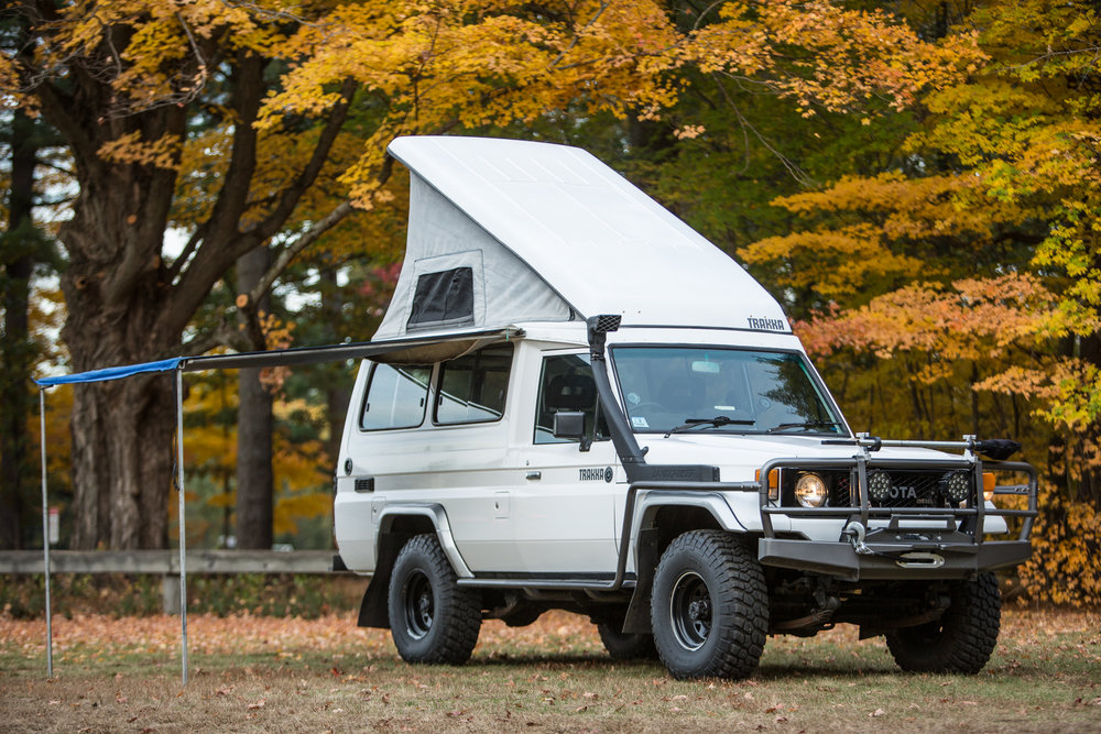 """Our """"White Whale"""" is a 1987 Toyota Landcruiser from Australia, imported to the US approximately 3 years ago. It has a TRAKKA camper top conversion with 'up top' sleeping quarters. It has the original 2H Diesel motor, clocking in around 450,000km! Our """"White Whale"""" serves as an adventure base-camp for my photography endeavors as well as a base-camp for kid adventures. A full writeup can be found here: http://expeditionportal.com/hj75-trakka-bushman/ Cheers! Jonathan Rutherford • 1987 HJ75 Landcruiser"""