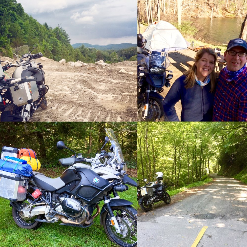 This is Hilde, a 09 R1200 GSA. She is equipped with touratech skid plates, aluminum panniers, oil cooler guard, mudsling rear fender, and 1800 lumen flood lights just to name a few. Hilde loves to eat up tarmac and splash in the mud. She has taken us for multi day adventures, day treks through the Smoky Mountains, and rides around town. It seems every time we take her out it is an adventure! Mark Pavao • 2009 BMW R1200 GSA