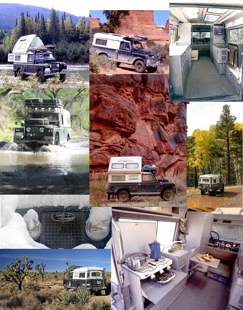 I have owned and traveled in my 56 year old Land Rover Dormobile for 38 years. The rear interior camper section of the Dormobile is 6.5 feet long and 4.5 feet wide. In that space is a pull out cot bed, cooker with 2 burners, a broiler, and storage underneath. There are 2 sinks with running water, a chest refrigerator, folding rear jump seat, porta pottie, and two tall wardrobe cabinets for storage. The truck has 3 fuel tanks with a total fuel capacity of 42 US gallons, a stainless steel 15 gallon drinking water tank, 5 gallon horizontal mount propane tank, and a horizontal mount compressed air tank filled by a 12V on-board air compressor. The second battery can be charged from the alternator or solar panels. The drive train consists of a fuel injected Ford 5.0 V8, NP435 gearbox, and Series Land Rover transfercase. The rear differential is a Dana 60 with ARB air locker, and stronger than stock axles. The front has a Trutrac limited slip and super strong 24 spline axles. With the 4.7:1 ring and pinion gears the low range first gear ratio at the axles is 50:1.The truck will go anyplace the 33.3 inch dia BFG Mud Terrains can find bight, and home is where I pop the top. 38 years of ownership and travel with many more yet to come.  TeriAnn Wakeman • 1960 Land Rover Dormobile