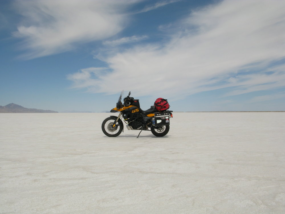Great Salt Lake, Bonneville flats on my way to Utah BDR. Michael Jackson • 2009 BMW F800GS •