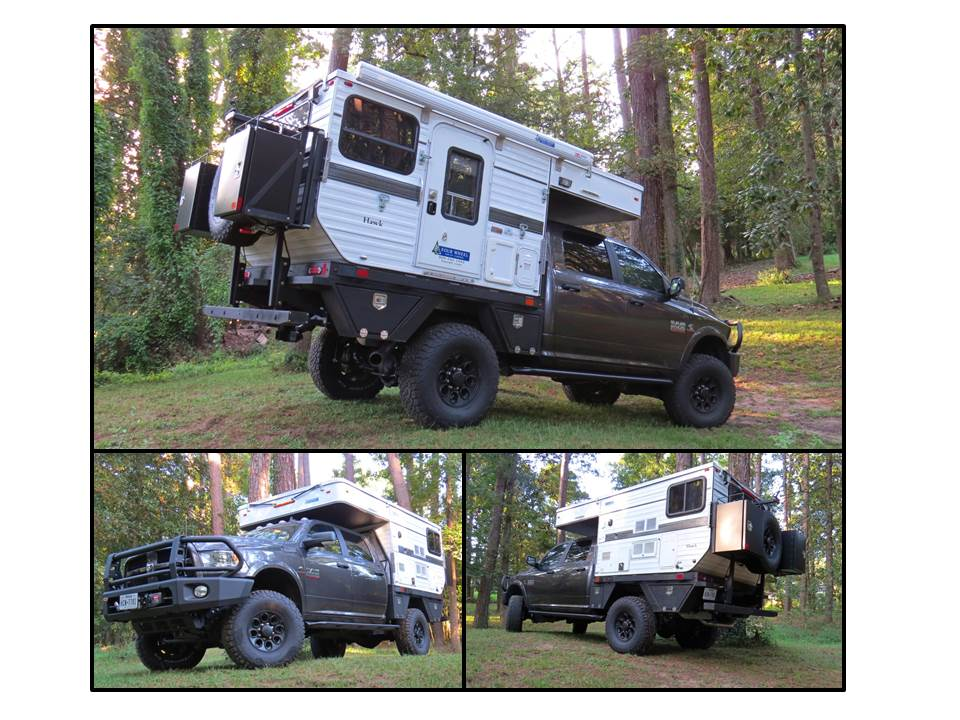 "This is our next step up in size for an Overland Vehicle and our ""Cool Ride"" to support a retired lifestyle. For the last 10 years we've wandered the country in a Jeep Wrangler towing a Horizon Adventure Trailer with roof top tent on trips made within the limits of 2 week vacations. Our concept was assembled from ideas found at past Overland Expo events and talking with folks out on the trail. It's intended for North American travel built on a 2016 RAM 2500 with Cummins Turbo Diesel and a 6 speed manual transmission. A close to fully optioned Four Wheel Camper ""Hawk"" provides the accommodations sitting on an Aluminum flatbed with storage boxes. The crew at Adventure Trailers did all the assembly and custom fabrication to put the rig together. Enhancements include AEV suspension and wheels with 37"" BFG KO2's. An ARB air system provides air service front and back to fill tires or adjust the indepen dent air suspension front and rear and power front and rear ARB lockers. The front is protected by an ARB bumper which also holds a 16.5 Warn Winch. The back has a custom bumper and storage rack with a pair of Aluminess boxes. Bill Elwell • 2016 Ram 2500"