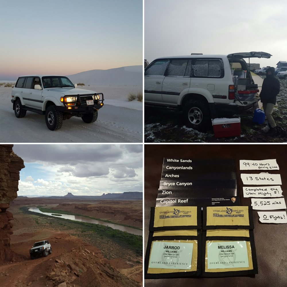 As newlyweds my wife and I made the trek out to Overland ExpoWest 2015 from Ohio. It was an amazing 5.525 mile adventure and I am a very lucky man to have such a wonderful wife. Left to right: White Sands National Monument, ExpoWest in the SNOW, White Rim Trail and out stats. We loved it and we even continued to tent camp in the snow and mud at ExpoWest. Jarrod Williams • 1997 Toyota Land Cruiser FZJ80 •