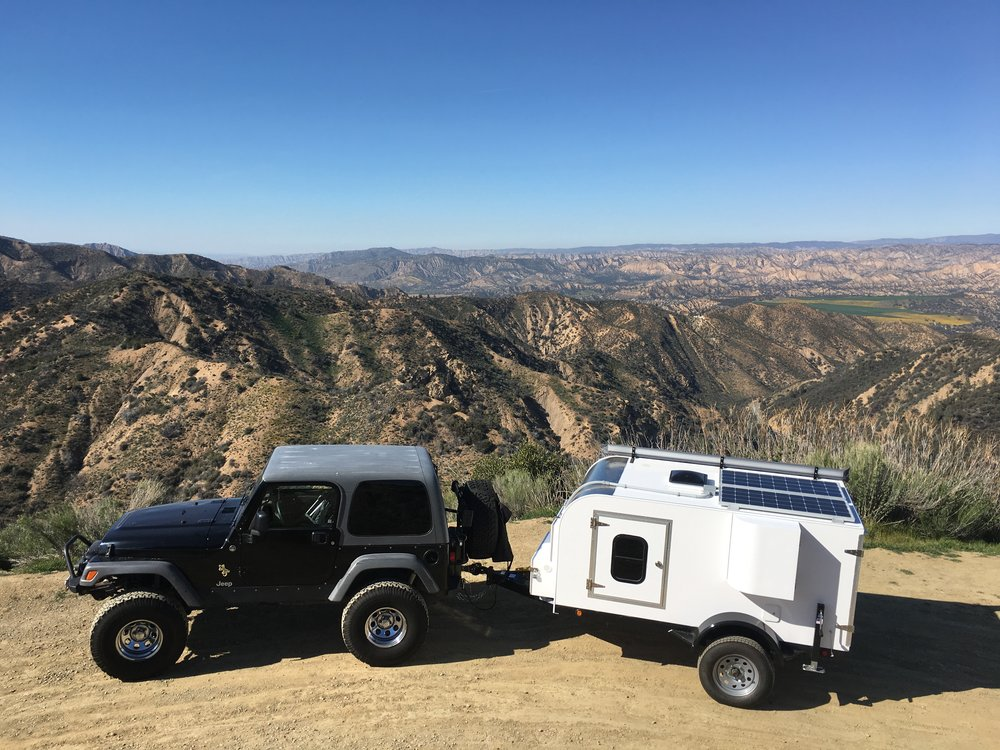 Jeep Rubicon and Lil Mag tiny camper ready for adventure. Levi Maze • 2016 Jeep Rubicon with Homemade Lil Mag •