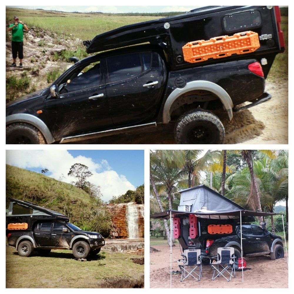Our cool ride is a Mitsubishi L200 Sportero V6 24V 6G74 engine fitted with a ¨incarvencamper¨ Pop Up Camper with all the amenities you will need or not (it depends on your demands) room for 2 adults and 2 kids, kitchen, sink, fridge/freezer, portapotty, battery charger, 2 solar panels, 110v/12v system, Honda 2000w generator, 5000btu A/C, Ironman double battery system with two Optima Gel Marine batteries, inside and outside LED illumination, 16 Gallons water tank with 12v pressure system and external shower. Old Man Emu Heavy Duty suspension, Mickey Thompson classic wheels and Dick Cepeck tyres, front bumper stealth custom made winch mount fitted with a Warn 9.5XP, custom made 6mm aluminum bashplates, Corbeau LG1 seats at front and 2 Recaro children booster Seats at back, TJM 150 psi air compressor with a 2 Gallons Viair Tank, rear ARB bumper, Safary snorkel and Level 3+ Armoured body. The build never end, after each travel we ever realize we n eed something more or something less. See you at the Overland Expo Valerio Rivero • 2008 Mitsubishi L200 Sportero •