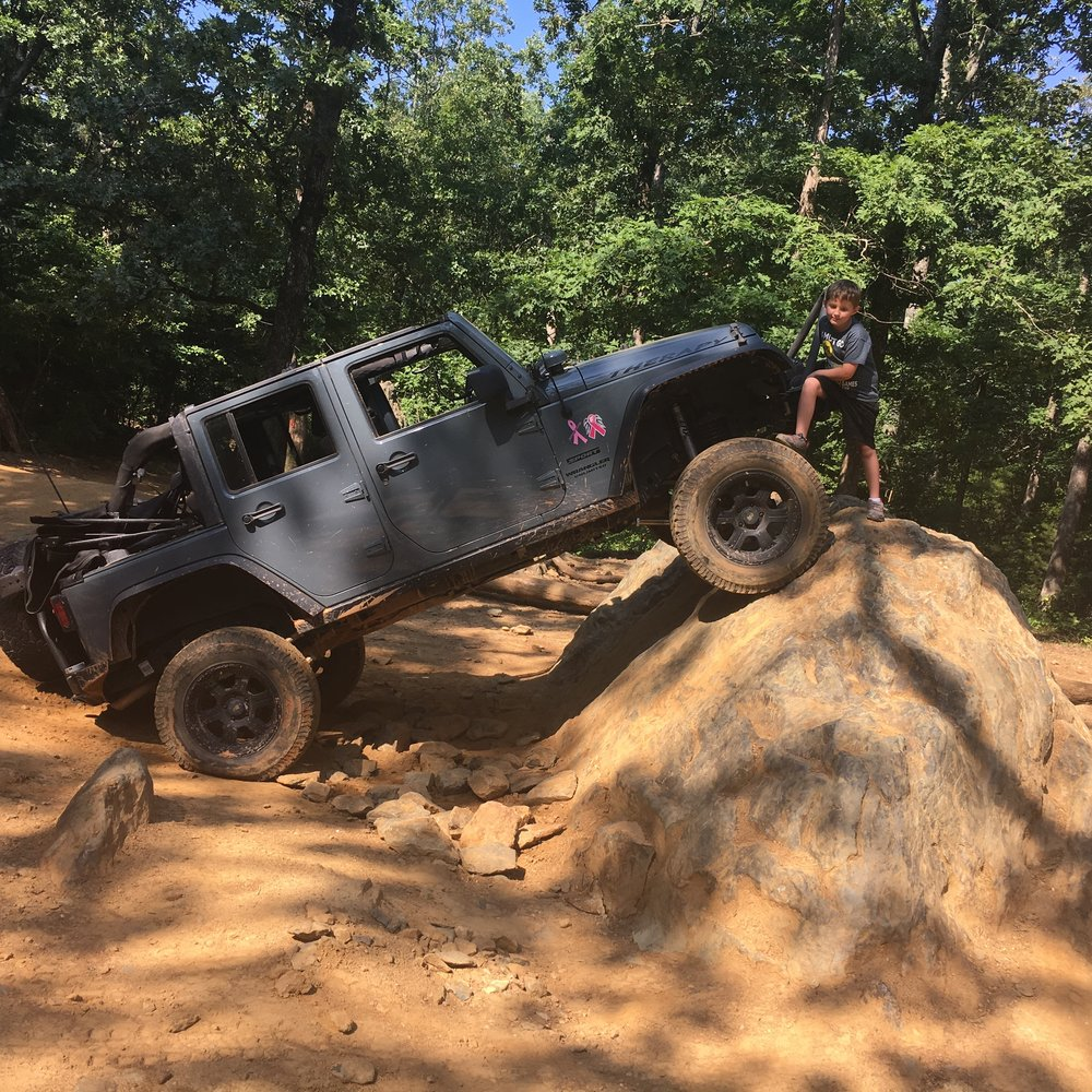 My son wanted to pose with Therapy after climbing poser rock in Uwharrie OHV trail system. Therapy provides relief for the whole family. Mike Heath • 2014 Jeep Wrangler •