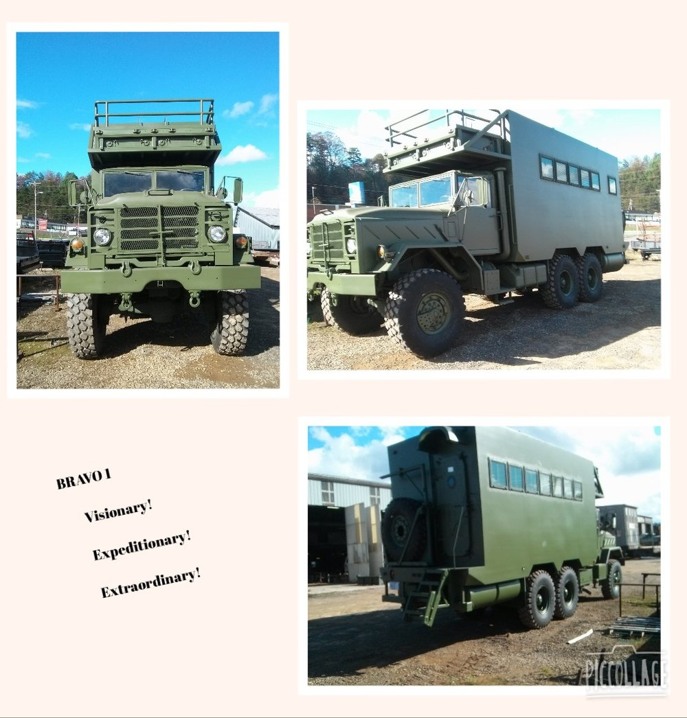 "As the proud owner, I am pleased to present the recently completed and re-purposed 1990 BMY M923A2, 6-wheel drive, Expeditionary Vehicle appropriately named:  BRAVO 1.  Purchased in June 2015 as a surplus U.S. military 5-ton cargo truck, it had undergone a thorough reconditioning by the military in 2009; this included installation of a new Cummins diesel engine (16,000 miles) and automatic Allison transmission, undercoating, and Michelin 48"" super-single all-terrain tires (11,000 lb. capacity each).  It has since been re-configured with an amazing number of surplus military parts and commercial features.  Weighing in at over 36,000 lbs., the overall dimensions are 30' long, 8' wide (plus safety mirrors), and 13' tall.  A total of approx. 15,000 lbs. of added material and equipment is incorporated into the formal design prepared by the owner, which included detailed fabrication worksheets for use by the fabrication team.  External modifications include removal of the short cargo drop-down sides, re-fitting of the exhaust stack to a horizontal configuration, the bed extended by about five feet, and the spare tire carrier relocated to the rear of the vehicle.  The expeditionary box is plated with 1/8"" steel, welded to insulated 2"" and 3"" tube steel frame assemblies; windows are military grade insulated glazing protected by external brush guards.  Interior bunks and galley frames are also similarly heavily constructed.  The underframe is fitted with a 77-gallon diesel fuel tank, two 50-gallon fresh water tanks, a 150-gallon grey/black waste water tank, and two storage compartments.  Waste tank hoses are stored in a specially designed rear bumper assembly.  BRAVO 1 comes complete with an anti-lock braking system (ABS), air brakes, and automatic tire pressure inflation system for use in highway, off-road, emergency, and run-flat configurations; an air hose provides auxiliary air supply to tires on stranded vehicles.  The primary entrance to the living/sleeping quarters is via a surplus MRAP-style collapsible stair that leads to the 5-psi certified, water-resistant, fully-dogged Navy vessel door.  Upon entrance to the interior, a number of unique features are immediately evident:  a double bunk (surplus Navy berths), as well as a Navy ship's wardrobe, and two securable safes with combination locks.  The galley-type stainless steel counter includes a sink, Kitchenaid under-counter refrigerator, and pull-out tabletop.   BRAVO 1 is electrified through a commercial 50-amp, 120 volt service panel (military vehicles run on 24 volt), with breakers that feed the overhead/exposed LED lighting system, wall outlets, hot water tank, and combined heating/air conditioning/dehumidification system.  Cooking is accomplished with portable stainless electric burners and roaster oven, for both external and internal use.  Off-grid electricity is supplied by an external portable generator, with cabling to supply 50 amp, 30 amp, and 15 amp service. Water is secured from two sources – from a stationary water source (i.e., campground), as well as the mobile 50-gallon tanks previously mentioned that feed an onboard transfer pump.  Included in this amazing rig is a full-service bathroom accessible via another 5-psi surplus Navy door that incorporates both a commercial-style pressure-tank-operated toilet and full shower.  Hot water is provided by a 19-gallon hot water tank.  Rounding out the unique features of BRAVO 1, all walls are wrapped with walnut veneer plywood; included is a wall-mounted 42"" flat screen TV with accompanying DVD/BlueRay player.  The main cabin ceiling consists of galvanized roof panels, which also line the bathroom walls, and ceiling.  A great variety of storage is evident – from the areas inclusive within the bunks, to the wardrobe, combo safes, galley cabinetry, and front-facing overhead bins.  Last, but certainly not least, BRAVO 1 includes a movable ship's-style ladder that accesses the roof-mounted emergency exit hatch.  This exit-way also leads to the forward observation deck – perfect for use as a photography platform to view nature in all its' finest glory.  Further, note that the roof deck is designed to support several people once collapsible handrails have been installed – perfect for NASCAR mid-field spectator participation and pre-game sporting events.   After fourteen months of fabrication, BRAVO 1 recently passed NC inspection, and is now commissioned as a legally operable vehicle on both public roads and rough terrain back roads.  As required by NHTSA  law, a total of 37 lights are appropriately stationed around the entire exterior for purposes of identification, illumination, and safety awareness.  Also, note that per NC law, a CDL is NOT required to operate this daunting vehicle. This expeditionary beast is built rugged for off-road use, yet handles well in city traffic – being mindful, of course, that this behemoth has an unintended effect to promote curious and alluring stares by those being passed by.  Safe and secure in such an exceptional vehicle, one can be assured that there are few back roads and moderate off-terrain areas that can't be conquered by BRAVO 1. You are welcome to visit this extraordinary expeditionary vehicle at the Overland Expo in Asheville, NC! Bruce Kibler • 1990 BMY M923A2"