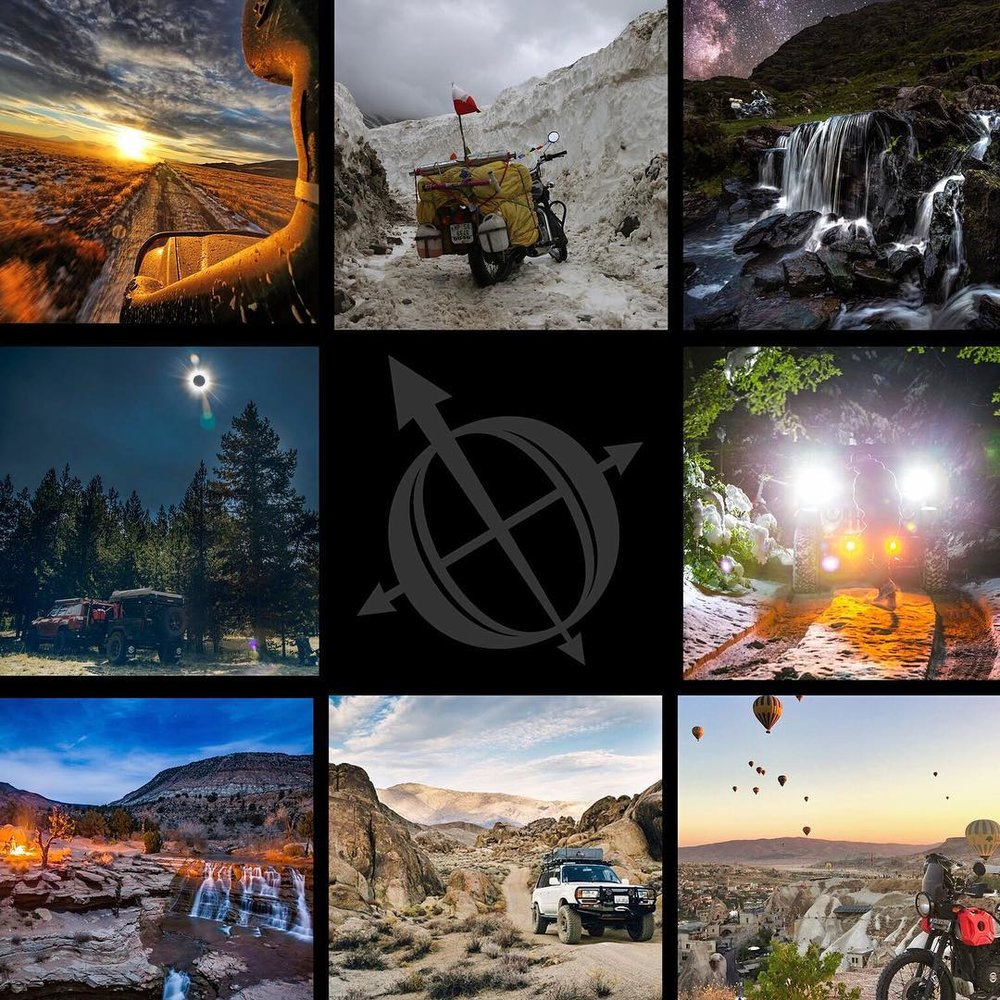 2018 Best Shot Finalists clockwise from top left;  @maxgear_armor ,  www.notosruuu.com ,  @timburkephoto ,  @2180miles ,  @trailbugadv ,  @dirt_road_travels ,  @kingoverland , and  @lawndartdesign