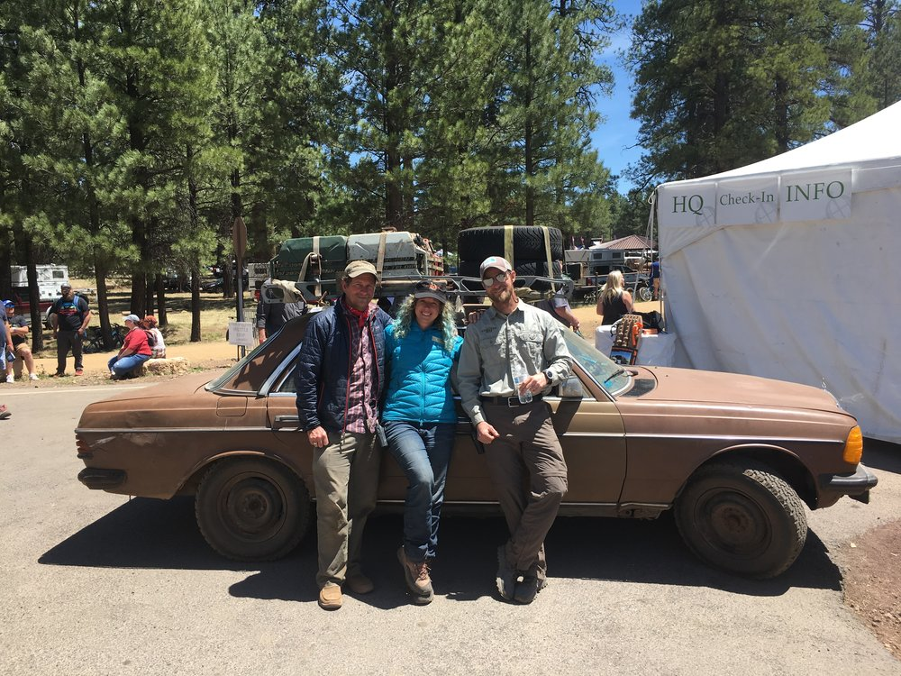 Left to Right: Cool Ride Grand Prize Winner Blue Nelson, Volunteer Coordinator Cyan Samone and Traffic & Campground Manager Isaac Barley