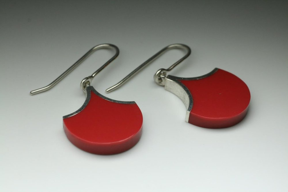 Jeremy Leeming - Sterling Silver & Red Corian Petal Earrings