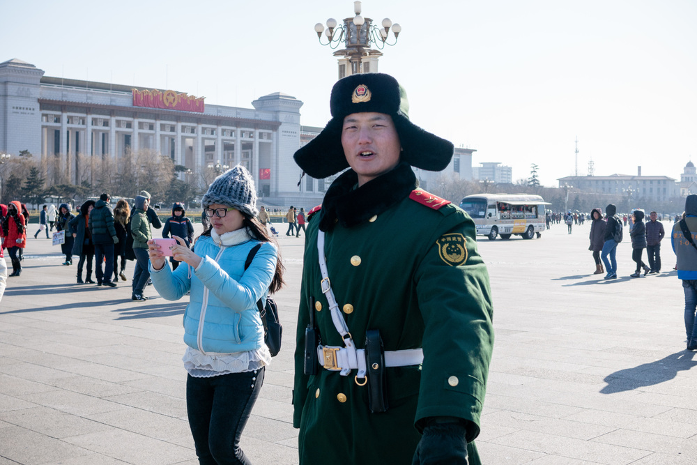 Military Guard at Tiananmen Square about to tell me I can't take his picture.