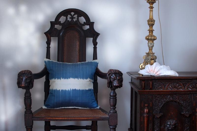 Indigo stripe ikat cushion