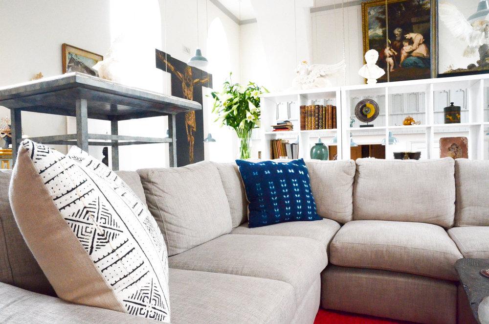The White River oversized Mudcloth cushion and the Indigo Dream Stitch Dye cushion.