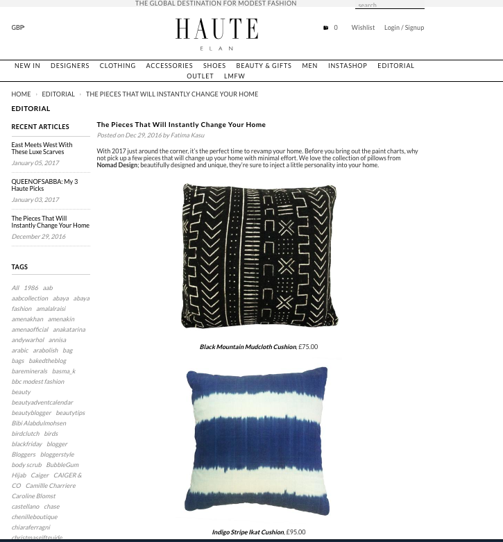 Haute Elan feature our Mali Mudcloth cushions - Pieces that will Instantly Change Your Home...