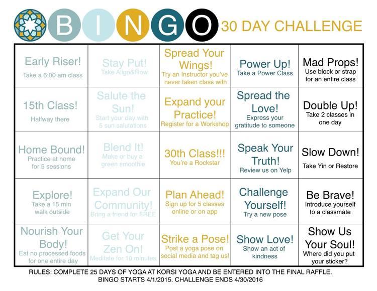 August 30 Day Yoga Challenge — KORSI YOGA