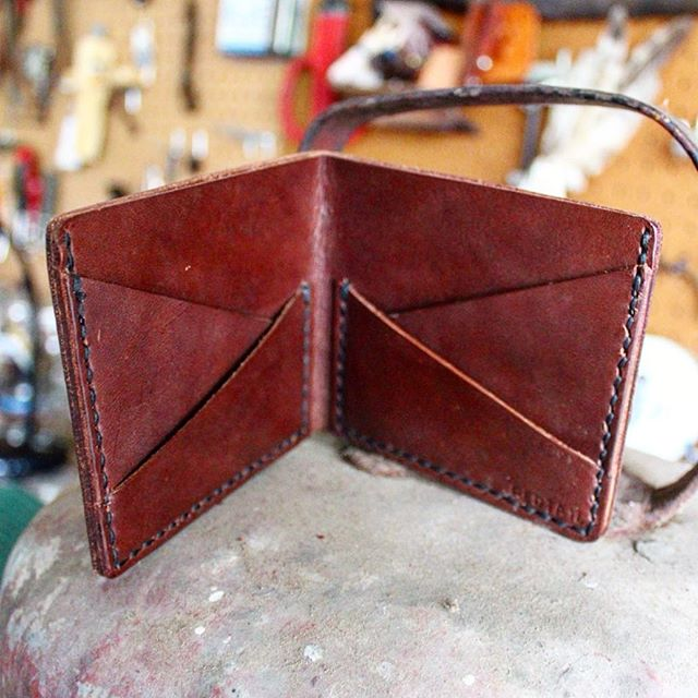Prototype wallet...a little rough around the edges, but it's a good start. Reminds me of me. #forgedwithgrit #wallet #bifold #madeintexas #madeinusa #madeinamerica #leather #handstitched