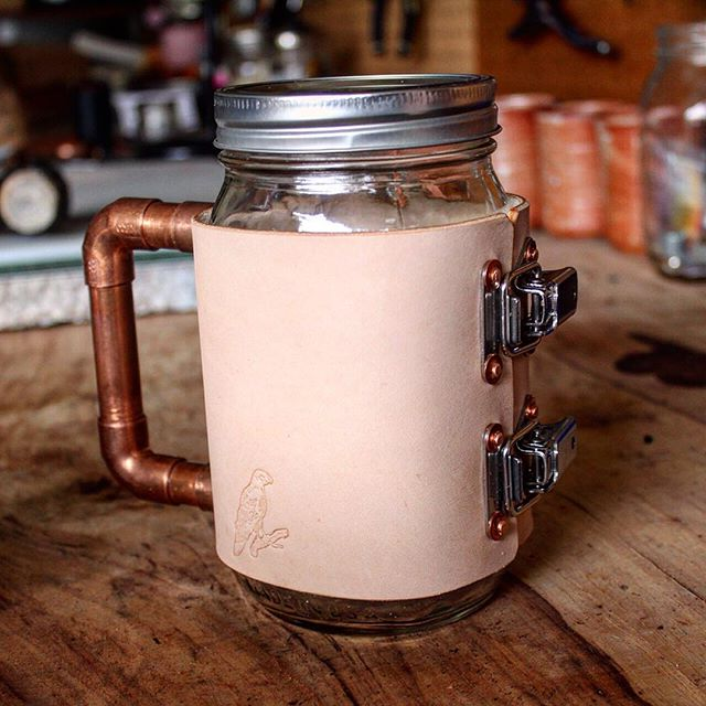 'Cause, why not?  #copper #stainlesssteel #mug #masonjar #vegtan #leather #redtail #hardgoods #redtailhardgoods #forgedwithgrit #madeintexas #madeinusa #madeinamerica