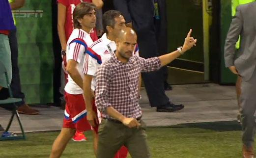 Guardiola rocking his Al Borland from Home Improvement-style plaid.