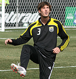 Random pic of Brad Evans in a Crew warm up suit because I did not remember Evans ever played for Columbus.