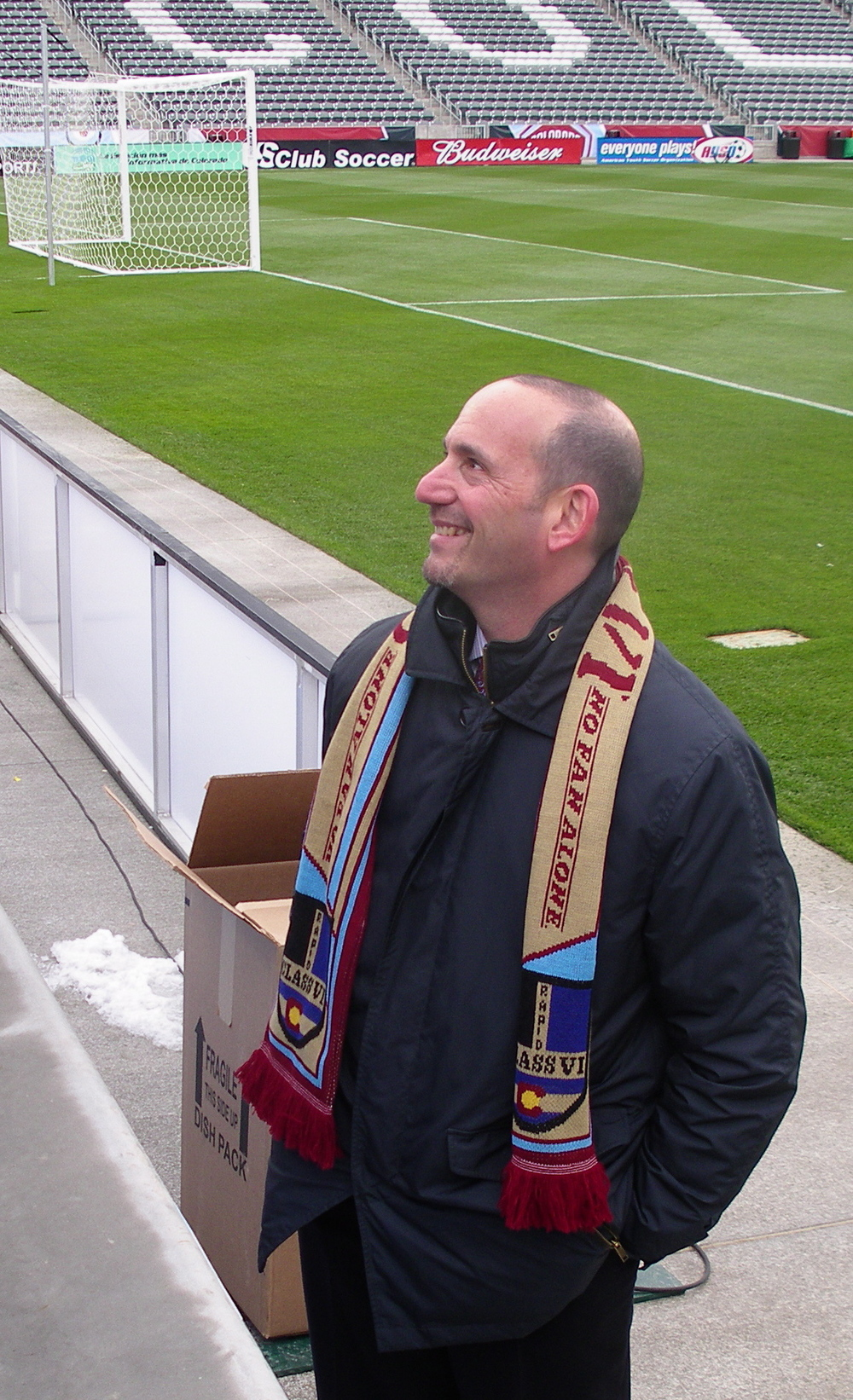 MLS Commish Don Garber, smiling at the prospect of MLS showing the world that video replay can indeed work.