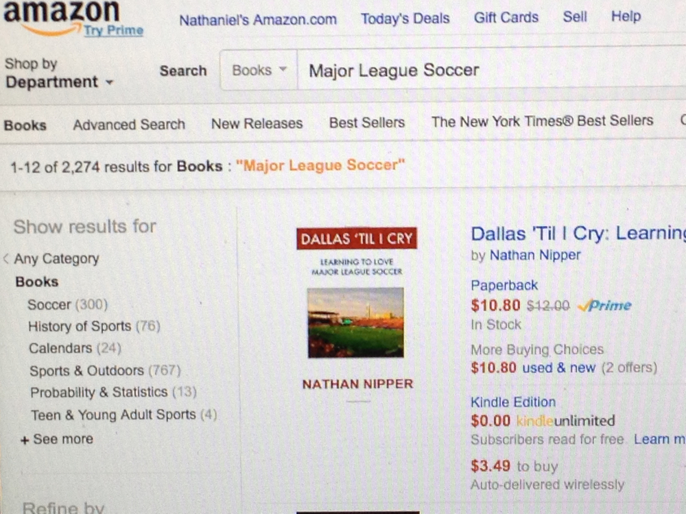 "Search ""Major League Soccer"" on Amazon and guess which book appears first?"