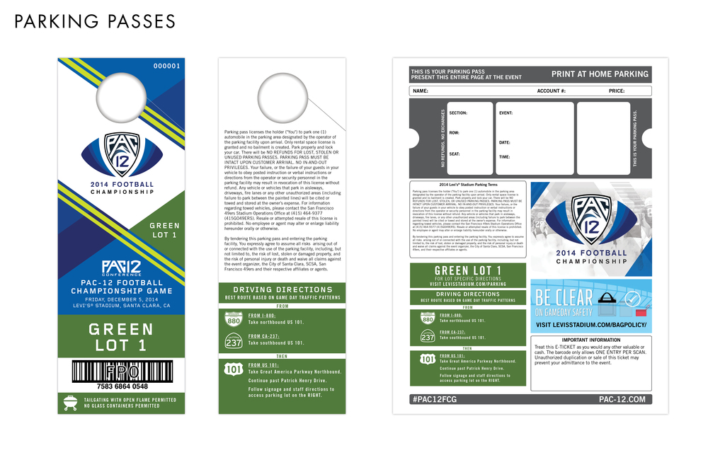 Pac-12 Football Championship Game Parking Passes