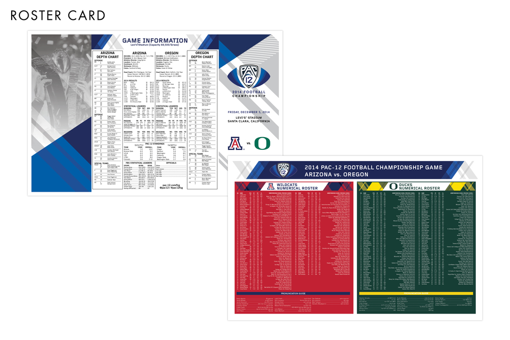 Pac-12 Football Championship Game Roster Card
